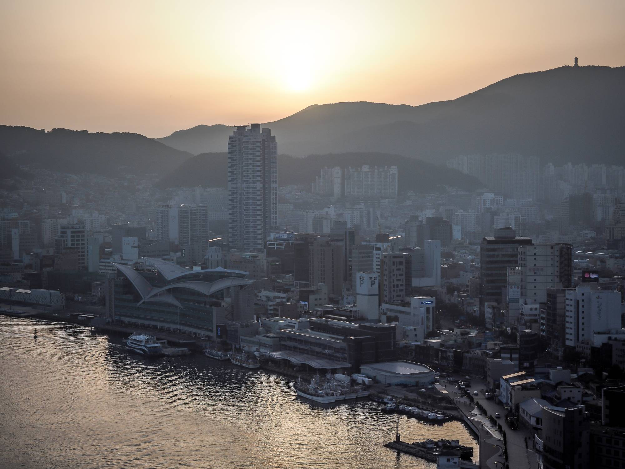 Sunset over Busan, viewed from the La Valse bar patio